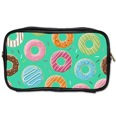 Doughnut Bread Donuts Green Toiletries Bags by Mariart