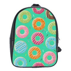 Doughnut Bread Donuts Green School Bags (xl)  by Mariart