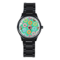 Doughnut Bread Donuts Green Stainless Steel Round Watch by Mariart