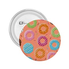 Doughnut Bread Donuts Orange 2 25  Buttons by Mariart