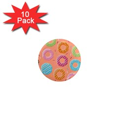 Doughnut Bread Donuts Orange 1  Mini Magnet (10 Pack)  by Mariart