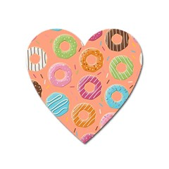 Doughnut Bread Donuts Orange Heart Magnet by Mariart