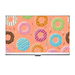Doughnut Bread Donuts Orange Business Card Holders by Mariart