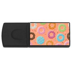 Doughnut Bread Donuts Orange Usb Flash Drive Rectangular (4 Gb) by Mariart