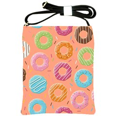 Doughnut Bread Donuts Orange Shoulder Sling Bags by Mariart