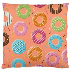 Doughnut Bread Donuts Orange Large Cushion Case (one Side) by Mariart