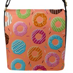 Doughnut Bread Donuts Orange Flap Messenger Bag (s) by Mariart