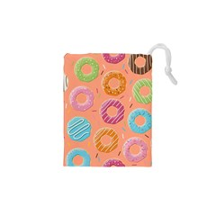 Doughnut Bread Donuts Orange Drawstring Pouches (xs)  by Mariart