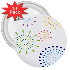 Fireworks Illustrations Fire Partty Polka 3  Buttons (10 Pack)  by Mariart