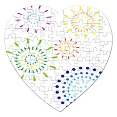 Fireworks Illustrations Fire Partty Polka Jigsaw Puzzle (heart) by Mariart