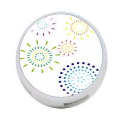 Fireworks Illustrations Fire Partty Polka 4 Port Usb Hub (one Side) by Mariart