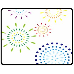 Fireworks Illustrations Fire Partty Polka Fleece Blanket (medium)  by Mariart