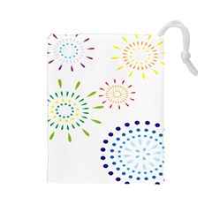 Fireworks Illustrations Fire Partty Polka Drawstring Pouches (large)  by Mariart