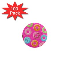 Doughnut Bread Donuts Pink 1  Mini Magnets (100 Pack)  by Mariart