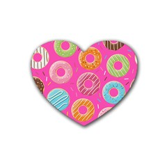 Doughnut Bread Donuts Pink Rubber Coaster (heart)  by Mariart