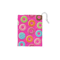 Doughnut Bread Donuts Pink Drawstring Pouches (xs)  by Mariart