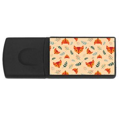 Foxes Animals Face Orange Usb Flash Drive Rectangular (4 Gb) by Mariart