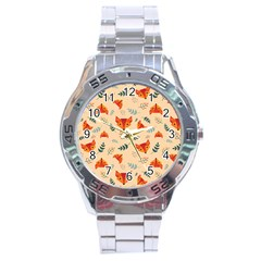 Foxes Animals Face Orange Stainless Steel Analogue Watch by Mariart