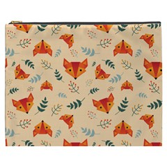 Foxes Animals Face Orange Cosmetic Bag (xxxl)  by Mariart