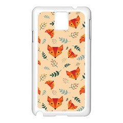 Foxes Animals Face Orange Samsung Galaxy Note 3 N9005 Case (white) by Mariart