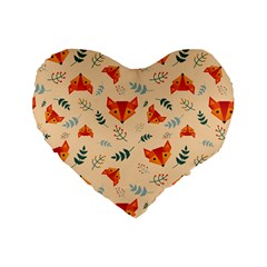 Foxes Animals Face Orange Standard 16  Premium Flano Heart Shape Cushions by Mariart