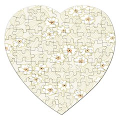 Flower Floral Leaf Jigsaw Puzzle (heart) by Mariart