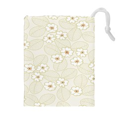 Flower Floral Leaf Drawstring Pouches (extra Large) by Mariart