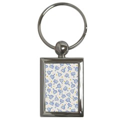 Glass Polka Circle Blue Key Chains (rectangle)  by Mariart