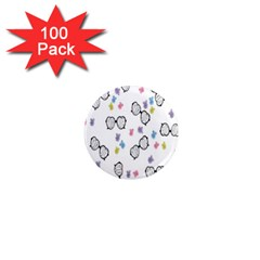 Glasses Bear Cute Doll Animals 1  Mini Magnets (100 Pack)  by Mariart