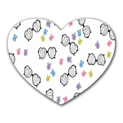 Glasses Bear Cute Doll Animals Heart Mousepads by Mariart