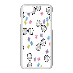 Glasses Bear Cute Doll Animals Apple Iphone 7 Seamless Case (white) by Mariart