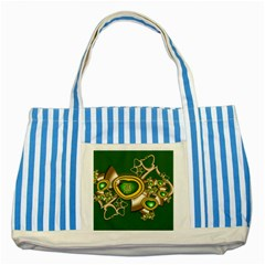 Green And Gold Hearts With Behrman B And Bee Striped Blue Tote Bag by WolfepawFractals