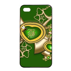 Green And Gold Hearts With Behrman B And Bee Apple Iphone 4/4s Seamless Case (black) by WolfepawFractals