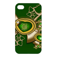 Green And Gold Hearts With Behrman B And Bee Apple Iphone 4/4s Hardshell Case by WolfepawFractals