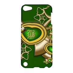 Green And Gold Hearts With Behrman B And Bee Apple Ipod Touch 5 Hardshell Case by WolfepawFractals