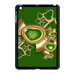 Green And Gold Hearts With Behrman B And Bee Apple Ipad Mini Case (black) by WolfepawFractals