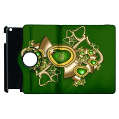 Green And Gold Hearts With Behrman B And Bee Apple Ipad 2 Flip 360 Case by WolfepawFractals