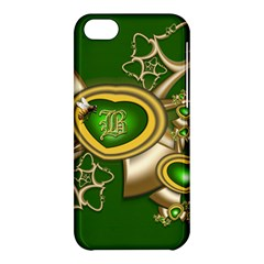 Green And Gold Hearts With Behrman B And Bee Apple Iphone 5c Hardshell Case by WolfepawFractals