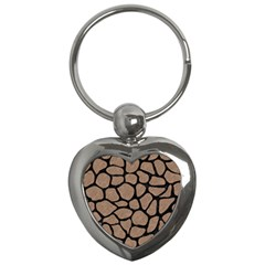 Skin1 Black Marble & Brown Colored Pencil Key Chain (heart) by trendistuff