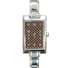 Scales3 Black Marble & Brown Colored Pencil (r) Rectangle Italian Charm Watch