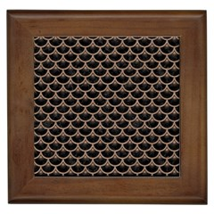 Scales3 Black Marble & Brown Colored Pencil Framed Tile by trendistuff