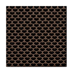 Scales3 Black Marble & Brown Colored Pencil Face Towel by trendistuff