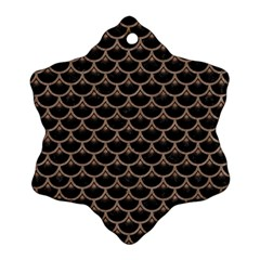 Scales3 Black Marble & Brown Colored Pencil Ornament (snowflake) by trendistuff