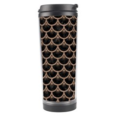 Scales3 Black Marble & Brown Colored Pencil Travel Tumbler by trendistuff