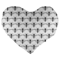 Bee Wasp Sting Large 19  Premium Flano Heart Shape Cushions by Mariart