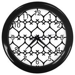 Heart Background Wire Frame Black Wireframe Wall Clocks (black) by Mariart