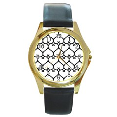 Heart Background Wire Frame Black Wireframe Round Gold Metal Watch by Mariart