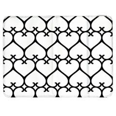 Heart Background Wire Frame Black Wireframe Samsung Galaxy Tab 7  P1000 Flip Case by Mariart