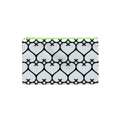 Heart Background Wire Frame Black Wireframe Cosmetic Bag (xs) by Mariart
