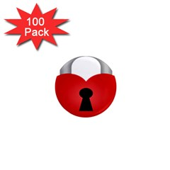 Heart Padlock Red Love 1  Mini Magnets (100 Pack)  by Mariart